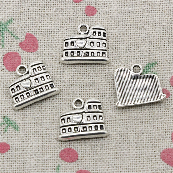 100pcs Charms roman colosseum rome italy 16*13mm Antique Silver Pendant Zinc Alloy Jewelry DIY Hand Made Bracelet Necklace Fitting