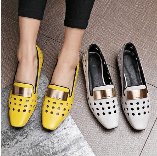 Hot Selling first layer cowskin Low heels hollow hole shoes Leather female sandals Metal decoration free shipping high quality