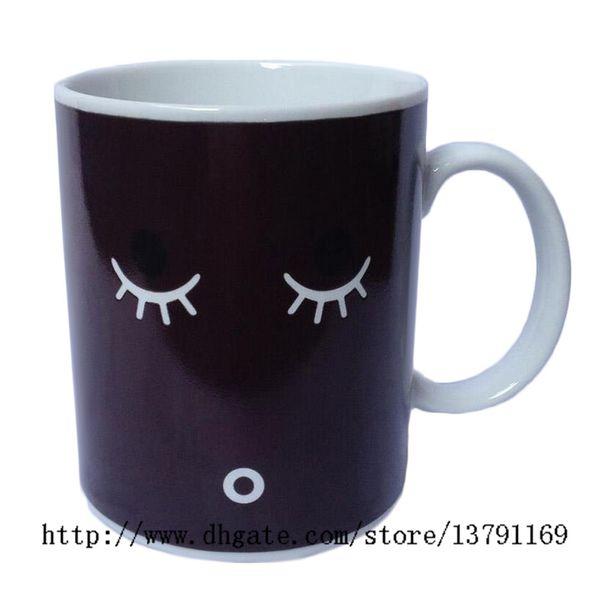 Creative Morning Mug Coffee Cup Color Changing Mug Heat Cold Temperature Sensitive Round Ceramic Tea Cup