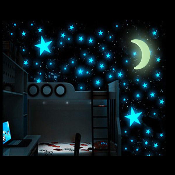 Großverkauf-100pcs / bag DIY Kinderzimmer-Dekor-Stern-Mond, der im dunklen Wand-Aufkleber-Mode-leuchtenden Beleuchtung in der Nachtabziehbild-Kunst-Aufklebern glüht
