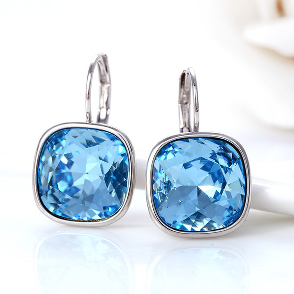New arrival square design crystal pierced earrings made with Swarovski elements crystal 2017 Christmas gift for women
