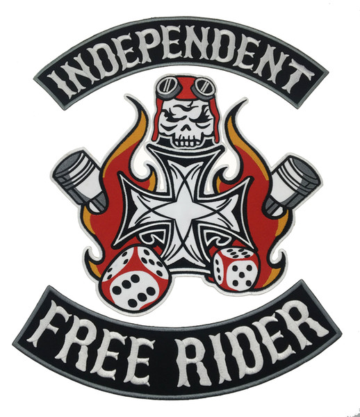Free Shipping INDEPENDENT FREE RIDER MC Iron On Embroidered Patch Motorcycle Biker Large Full Back Size Patch for Jacket Vest Badge