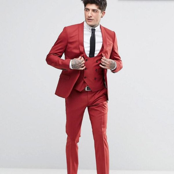 New Fashion Handsome Groom suits Tuxedos Shawl Lapel One Button Groom Suits Extremely Cool Best Man Suits (Jacket+Pants+Vest)