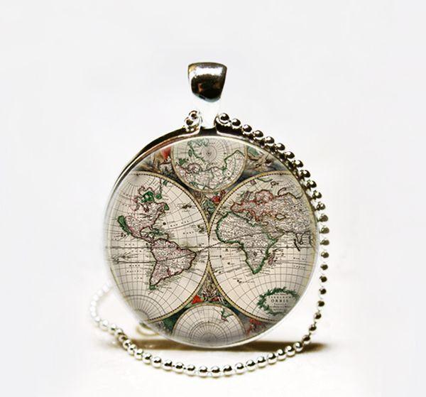 Wholesale hot sale antique world map pendant necklace world map hot sale antique world map pendant necklace world map necklaceantique map jewelry gumiabroncs Choice Image