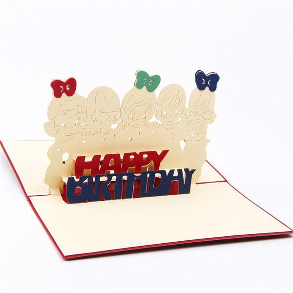 Compre Tarjetas De Felicitación De Cumpleaños De Niños Creativos 3d Pop Tarjeta De Invitación De Cumpleaños Encantadora Con Tarjetas De Deseo De