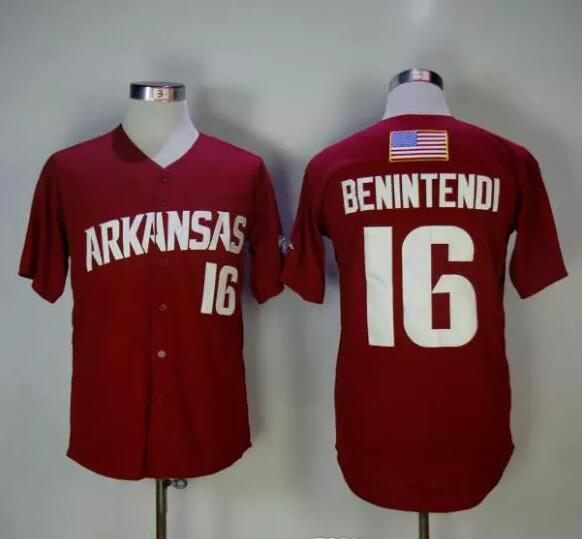 Mens Womens Youth Baseball Arkansas Razorbacks College Baseall Jerseys  16  Andrew Benintendi Jerseys Maroon Red fdaba433f