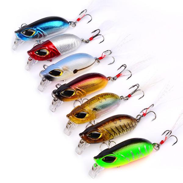 7 colores 5.5 cm 8.26g Señuelos de plástico duro Ganchos de pesca Anzuelos 3D Ojos Señuelos de pesca 8 # Gancho Cebo artificial Pesca Tackle Accesorios
