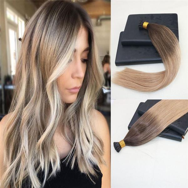 100% jungfrau brasilianisches menschliches haar ich-spitze vorgebundene haarverlängerungen doppelt gezogene keratin stick fusion remy haarverlängerungen ich spitze