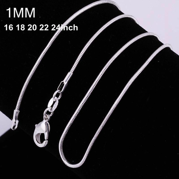 best selling 1MM 925 sterling silver smooth snake chains women Necklaces Jewelry snake chain size 16 18 20 22 24 26 28 30 inch Wholesale