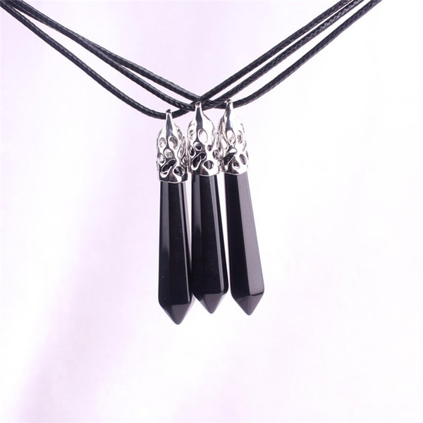 Statement Natural Black Onyx Boho Crystal Gem Necklace Good Luck Reiki Agate Stone Point Drop Spike Bullet Case with Silver Plated Fittings