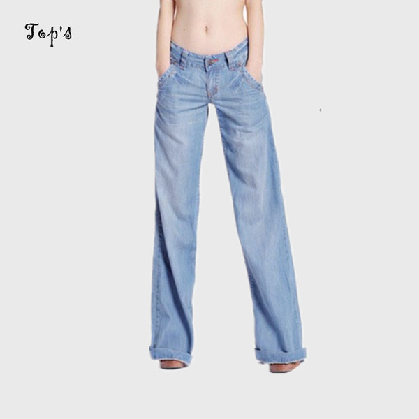 b33d81f9d5c2 Wholesale- 2017 New Wholesale Woman Wide Leg Washed Jeans Flare Pants Women  Bell-bottom Trousers for Women Jeans Flare Plus size