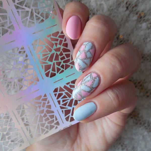Nail Inkjet Template 12 Tips/Sheet Irregular Triangle Pattern Nail ...