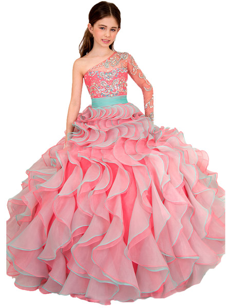 Pink One Shoulder Child Dance Party Crystal Ball Gowns Flower Girls Organza A Line Dress Kids Ruffles Pageant Dresses