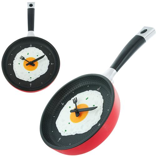 Wholesale- Omelette Fry Pan Kitchen Fried Egg Design Wall Clock Decor Egg Pan Clock Decor Wall For Kids Rooms Decoration Gift