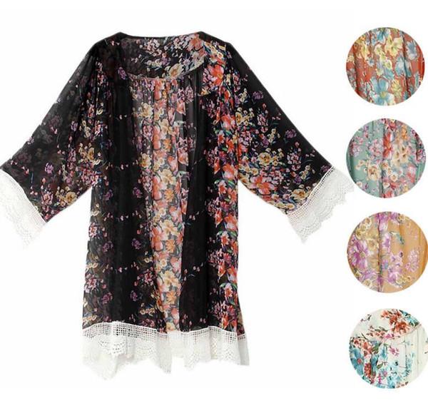 Women Summer Blouse Printed Chiffon Shawl Kimono Casual Cardigan Cover Up Tops Lace Tassel Flower Blouse KKA3435