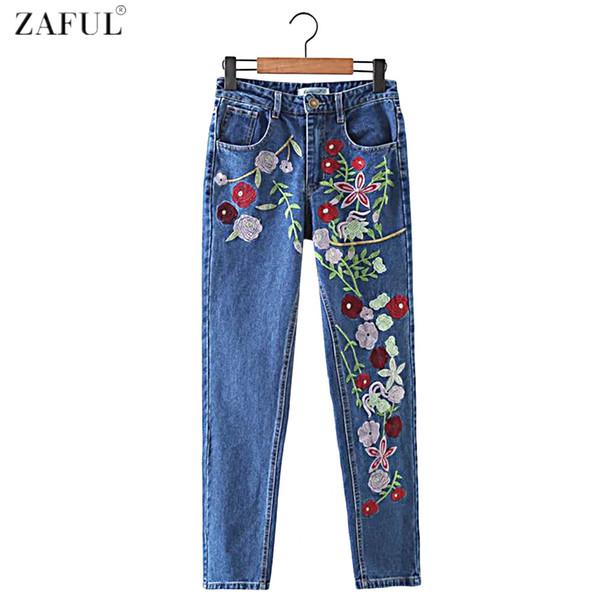 Al por mayor ZAFUL Brand 2017 nuevas mujeres del bordado de flores Jeans bolsillos con cremallera Casual Feminino Pantalones chicas mediados de cintura de los pantalones