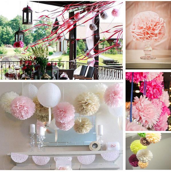 """Wholesale- 10pcs Hot selling 12""""(30 cm) Wedding Decorative Props Tissue Paper Pompoms Pom Poms Balls Wedding Party Home Decor"""