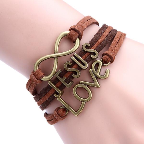 Braccialetto d'argento di infinito del braccialetto di all'ingrosso-amore amo il braccialetto di corda di Gesù intrecciato Fascino di modello combinato di cuoio intrecciato multi strato