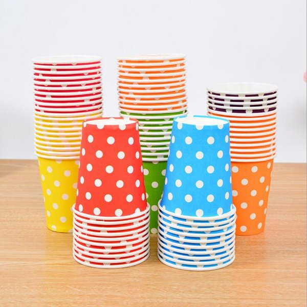 En gros- 2017 Coloré Polka Dot Tasses En Papier Jetable Vaisselle De Mariage Anniversaire Table Décorations Jetables Tasses