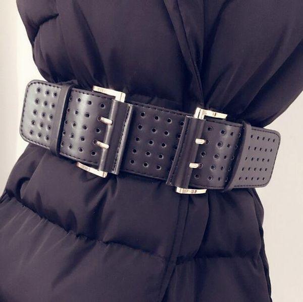Kadınlar Için toptan-2017 Tasarımcı geniş Kemerler Moda Çift Metal Tokalar içi boş Deri Kadınlar için Yeni Yüksek Kalite