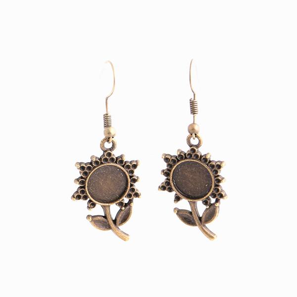 SWEET BELL 12pcs/lot Metal Alloy Zinc Fit Round 11mm Cabochon Set Pendant Drop Earing Diy Jewelry Making C0786