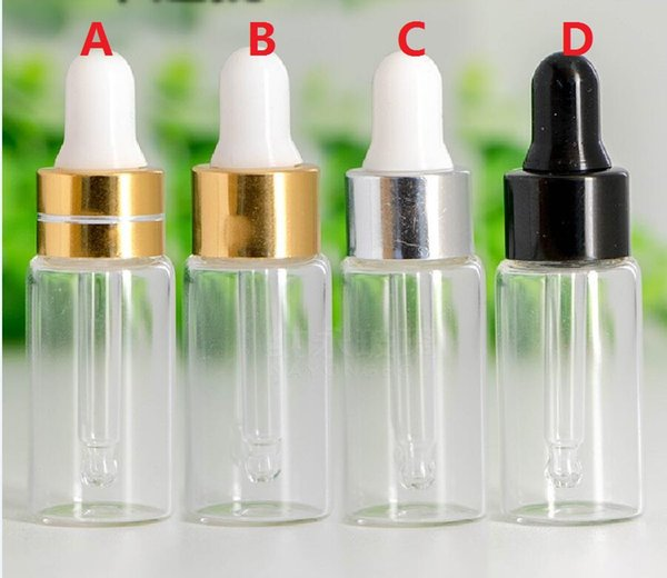 50/ lot 5ML Clear Glass Dropper Bottle, 5 ML serum Vial, 5ml Cosmetic Packaging, Sample Display Container