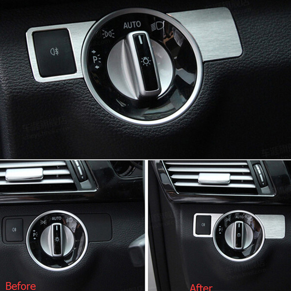 Front Head Light Switch Cover Trim Sticker for Mercedes Benz A B C Class GLK GLA CLA CLS ML Styling Car Interior Accessory