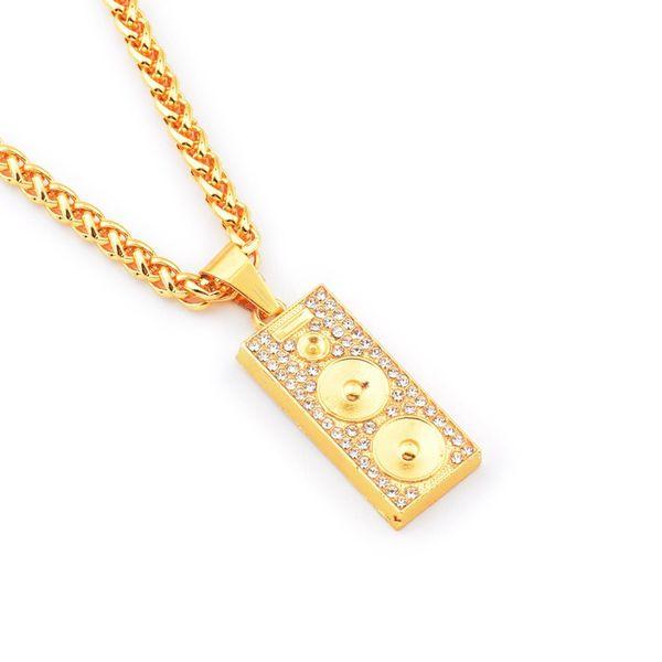 """Mens Hip Hop Sound Medal Pendant Necklaces Design Jewelry Filling Pieces Men Golden Hip Hop Fashion Chain Necklace w/29.5"""" Chain"""