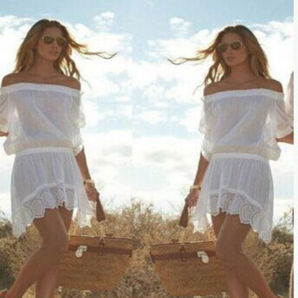 New Fashion Sexy Casual Dress Hollow Out White Dress Fittness Casual Loose Off The Shoulder T-shirt Dresses With High Quality