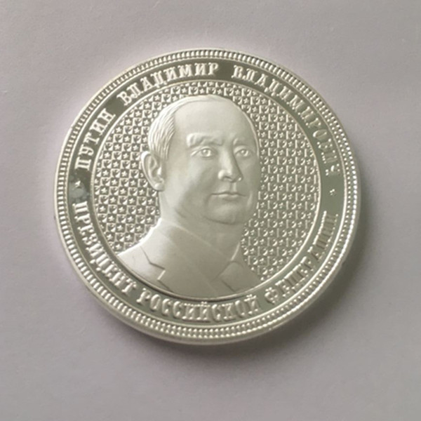 5 Pcs Putin coin the president of Russia and Crimea map silver plated badge 40 mm souvenir coin