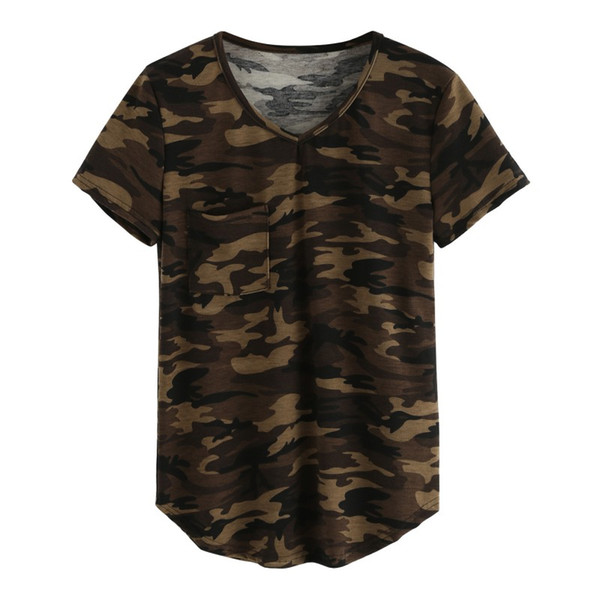 Wholesale- Women's T-shirt V Collar Sexy Summer Camo Short Sleeved Tshirt and Casual Camouflage Shirt Fashion Street Wear