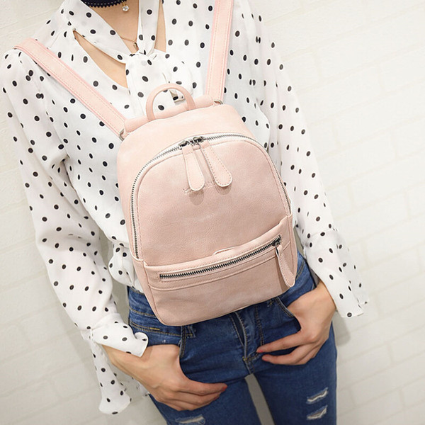 Wholesale- Women Backpack New Fashion Casual PU Leather ladies feminine backpack Candy color Korea school style solid Student mini backpa
