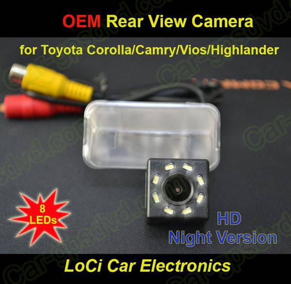 8 LED! Vista posteriore HD Toyota Corolla, Camry, Vios, Highlander CCD visione notturna auto retromarcia auto telecamera luce targa