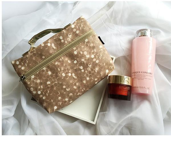 Wholesale- Free shipping Luxury Fashion real leather double zipper cosmetic bag travel wash clutch key storage bag womens handbag makeup bag