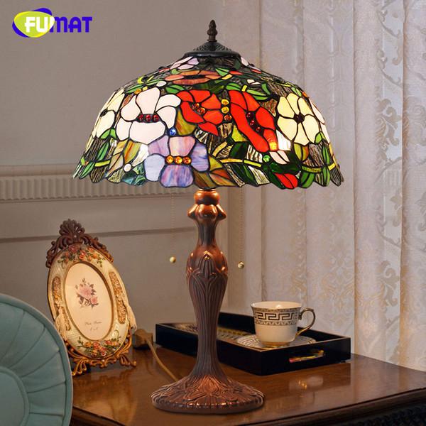 Tiffany Tischlampe Antike Kunst Dekor Blume Blhende Wohnzimmer Tischleuchte LED Buntglas Lampe Bro Studio Stand