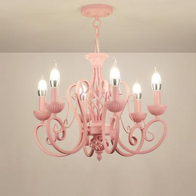 on sale afc20 f5881 Modern Wrought Iron Pendant Chandeliers Vintage Chandelier Ceiling Fixtures  E14 Candle Lights Lighting Iron White/Pink/Blue Home Lighting Vintage ...
