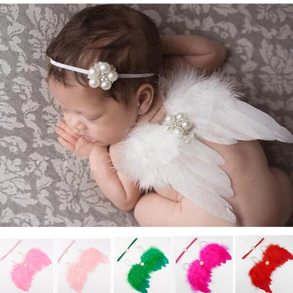 Kids Baby Crystal Pearl Elastic Hair Bands Headbands Children Baby Angel Feather Wing Infant Photography Props Set Costume Baby Accessories