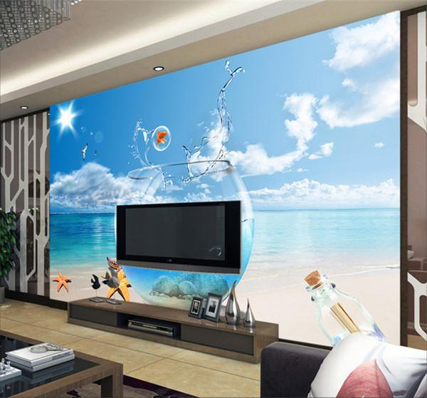 Großhandel Freies Verschiffen 3D Sea View Tapete Wohnzimmer Sofa  Schlafzimmer TV Bar Hintergrund Fisch Aquarium Tapete Wandbild Von  Fumei150716, ...