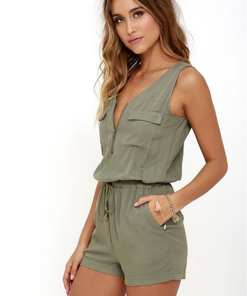 Sexy Sleeveless Bodysuit Women Jumpsuit Shorts Romper Summer V-neck Zipper Pockets Playsuit Fashion Beach Overalls Femme Frock