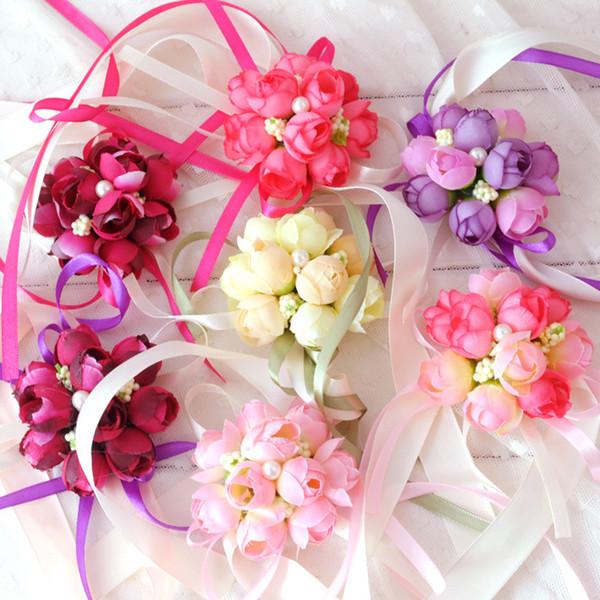 Bridal Wrist Ribbon Hand Bridesmaid Flowers Silk Rose Corsage Wedding Party