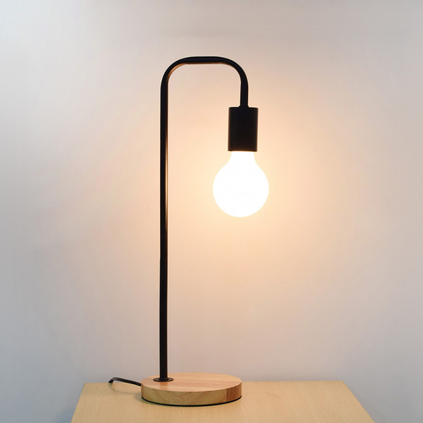 Levou lâmpada de mesa de madeira ferro arte lâmpada de mesa de luz de mesa de madeira de iluminação de Metal E27 para o quarto de leitura de cabeceira candeeiro de mesa de iluminação