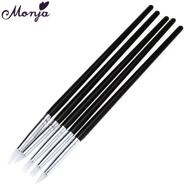 Wholesale- 5Pcs Soft Silicone Nail Art design stamp Pen Brush Carving Craft Pottery Sculpture UV Gel Building brushes Pencil DIY Tools