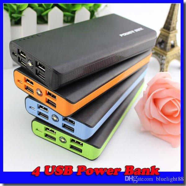 best selling 4 USB Port Charger External Backup Battery With Retail Box For Mobile Phone Free shipping