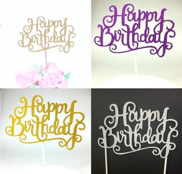 Vente en gros- 1pc drapeau de gâteau créatif Topper joyeux anniversaire drapeaux bâton unique pour la famille fête d'anniversaire gâteau cuisson décoration fournitures