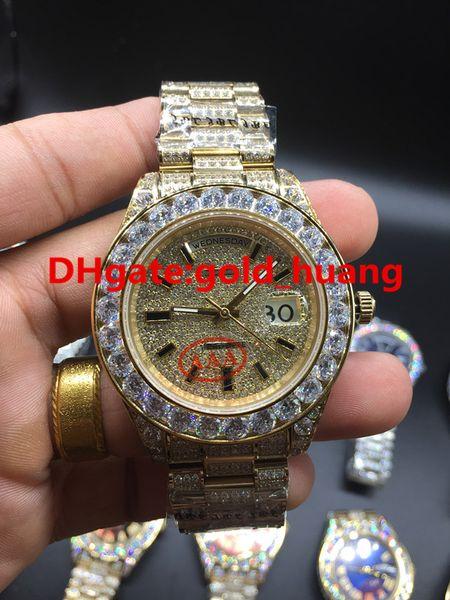 2017 NEUE Luxux 43mm große Diamant mechanische Mannuhr (Multifarbenvorwahlknopf) Alle Diamantband automatische Edelstahlmänner Uhren 1658