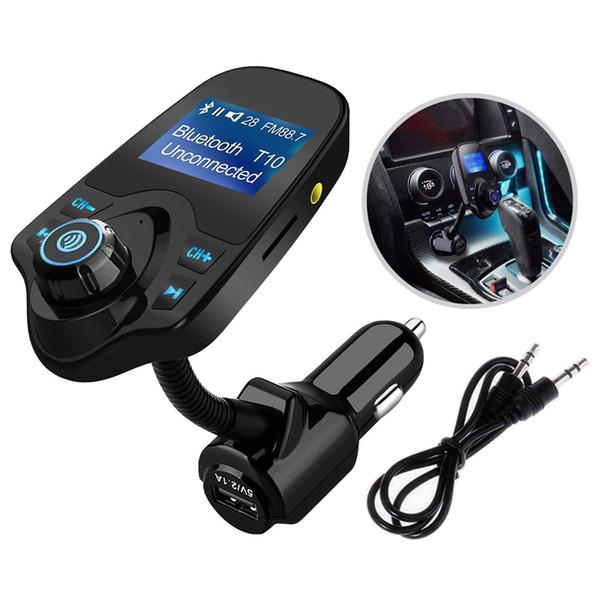 Kit caricabatterie vivavoce per auto Bluetooth senza fili per auto T10 Mp3 Bluetooth Player con slot per schede TF 1.44