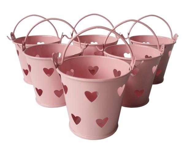 D6*H5CM Cheap Metal mini candy Pail Tin bucket Rustic Succlents Pots Decorative Galvanized Iron pots Party Favor