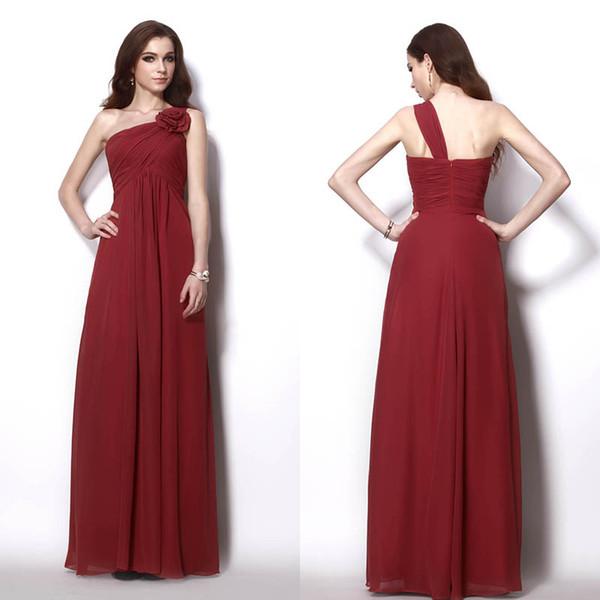 Burgundy Cheap Chiffon Long Bridesmaid Dresses One Shoulder Criss ...