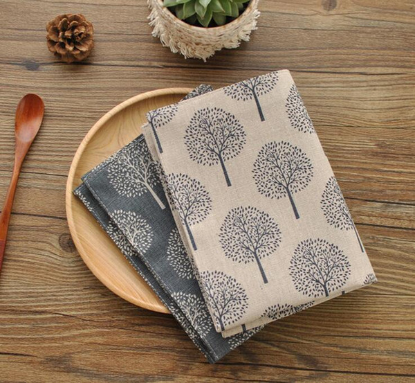 top popular New Cotton and linen napkin tea towel small tree pattern double placemat 40*30cm aesthetic elements(just tea towel) 2021