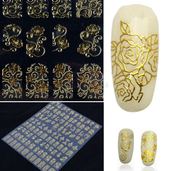 top popular 100 sheets Art Nail stickers wholesale Hot Seller Women's Lady's 108Pcs On A Paper Flower 3D Nail Art Stickers Decals Manicure Decor 2019